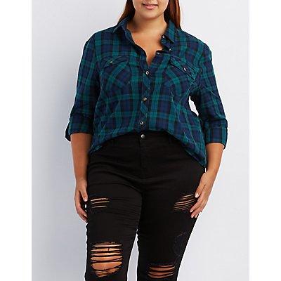 Plus Size Plaid Flannel Button-Up Shirt