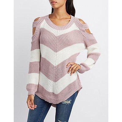Chevron Cold Shoulder Sweater