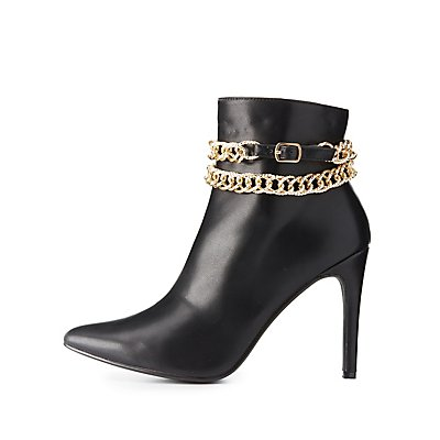 Chainlink & Faux Leather Pointed Toe Boots