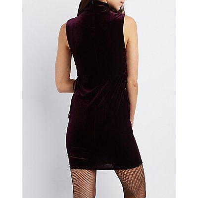 Velvet Mock Neck Lace-Up Dress