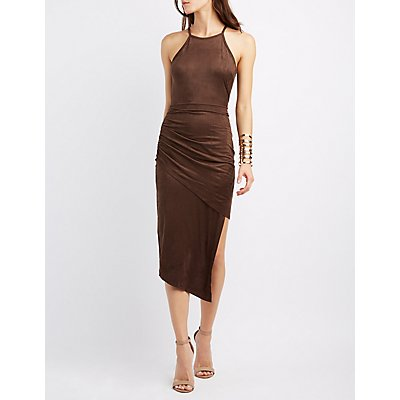 Faux Suede Asymmetrical Bodycon Dress