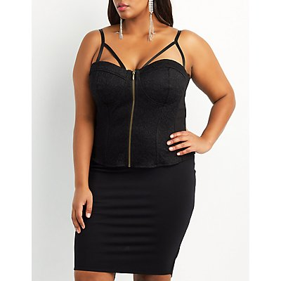 Plus Size Caged Lace Bustier Top