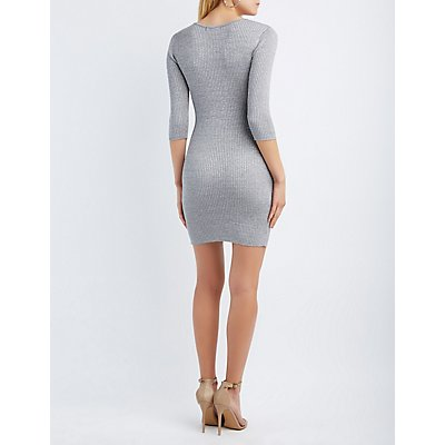 Shimmer Lace-Up Sweater Dress
