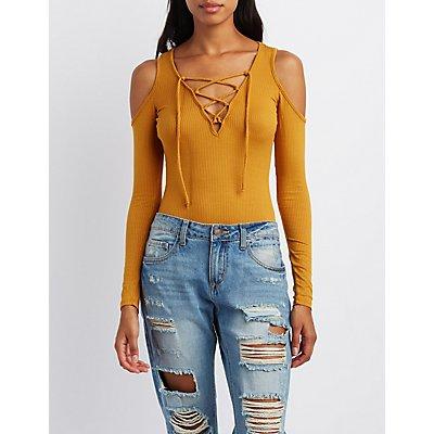 Lace-Up Cold Shoulder Bodysuit