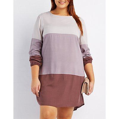 Plus Size Colorblock Shift Dress
