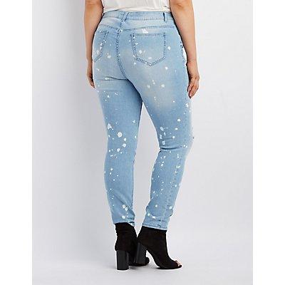 Plus Size Splatter Destroyed Skinny Jeans