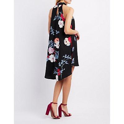 Floral Mock Neck Shift Dress