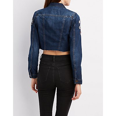 Patched Denim Cropped Jacket