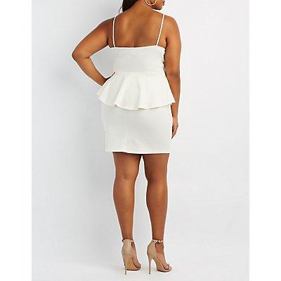 Plus Size Shimmer Textured Peplum Dress