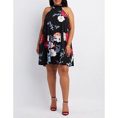 Plus Size Floral Mock Neck Shift Dress
