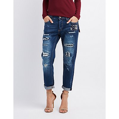 Cello Distressed Patchwork Jeans