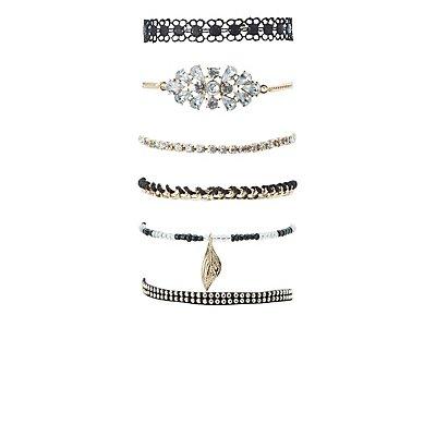 Beaded, Chainlink & Crochet Layering Bracelets - 6 Pack