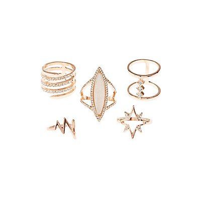 Embellished Statement Rings - 6 Pack