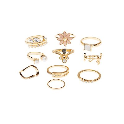 Embellished Stackable Rings - 7 Pack
