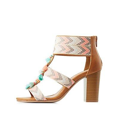 Chevron Tassel-Trim Sandals