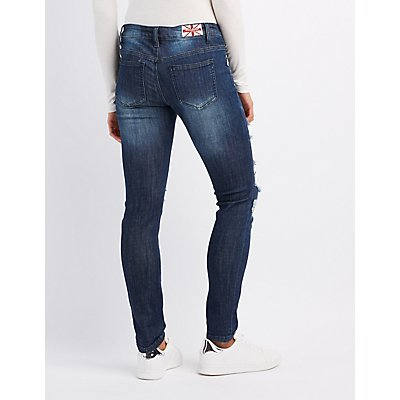 Machine Jeans Destroyed Patches Skinny Jeans