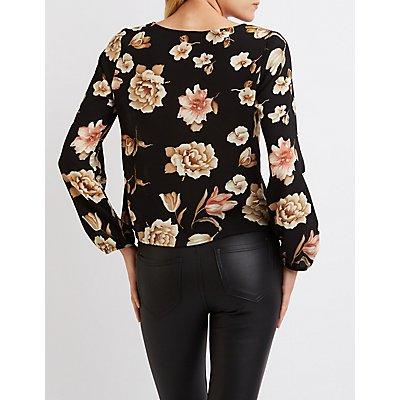 Floral Lace-Up Blouse
