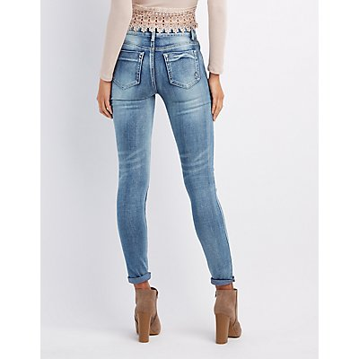Destroyed Patchwork Skinny Jeans