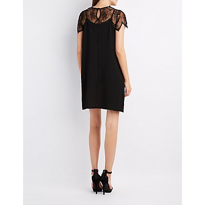 Lace-Top Slip Shift Dress