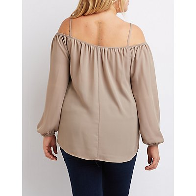 Plus Size Strappy Cold Shoulder Top