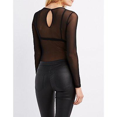 Sheer Mesh Embroidered Bodysuit