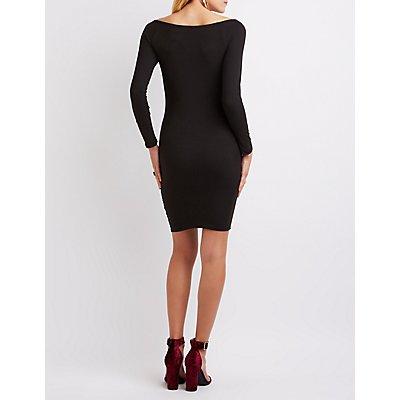Faux Suede Off-The-Shoulder Dress