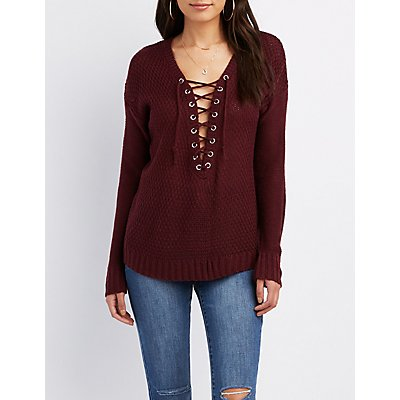 Lace-Up Pullover Sweater