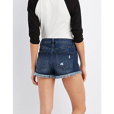 Refuge Hi-Rise Destroyed Denim Shorts