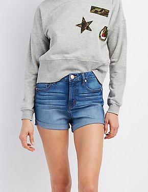 Refuge Hi-Rise Cuffed Denim Shorts