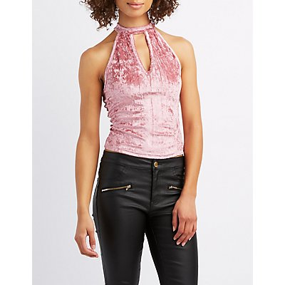 Velvet Mock Neck Keyhole Crop Top