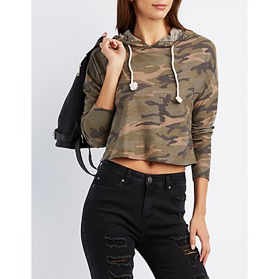 Camo Cropped French Terry Hoodie