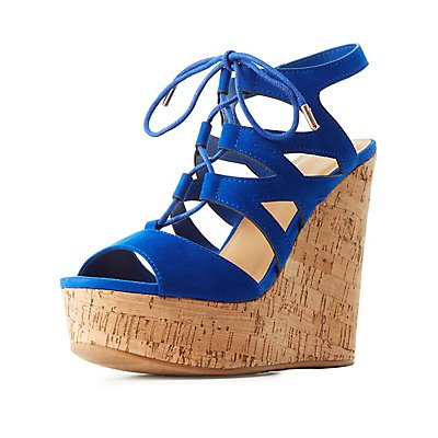 Bamboo Lace-Up Cork Wedge Sandals
