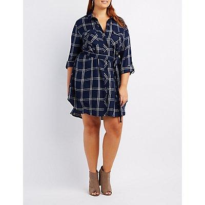 Plus Size Belted Plaid Shirt Dress