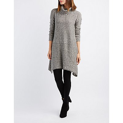 Turtleneck Asymmetrical Sweater Dress