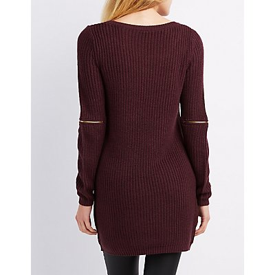 Shaker Stitch Zipper-Trim Sweater Tunic