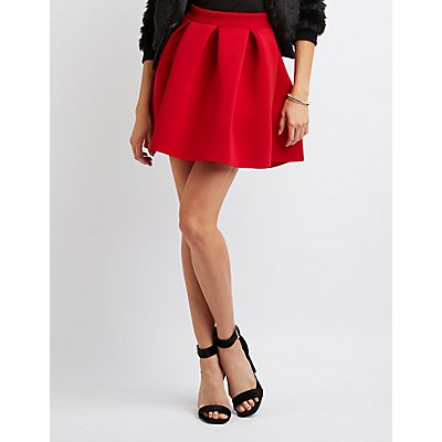 Pleated Scuba Skater Skirt