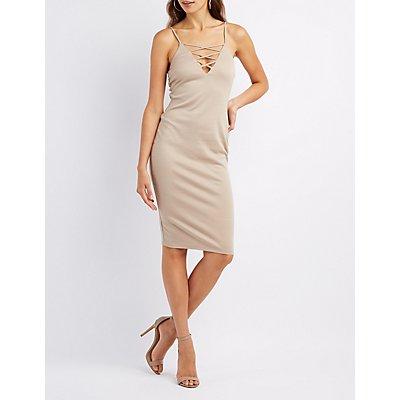 Lattice-Front Bodycon Midi Dress