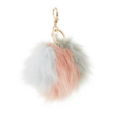 Striped Faux Fur Ball Keychain