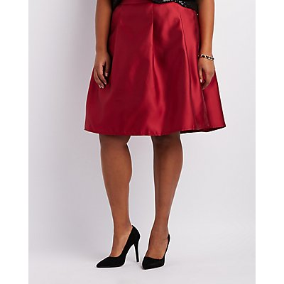 Plus Size Satin Pleated Midi Skirt