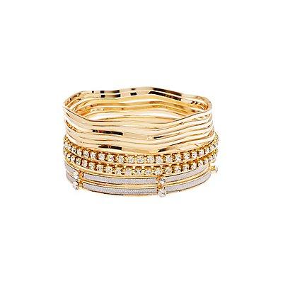 Glitter & Embellished Bangle Bracelets - 10 Pack