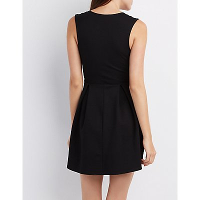V-Neck Pleated Skater Dress