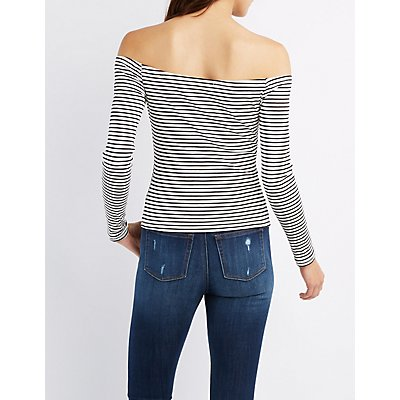 Striped Off-The-Shoulder Fitted Top