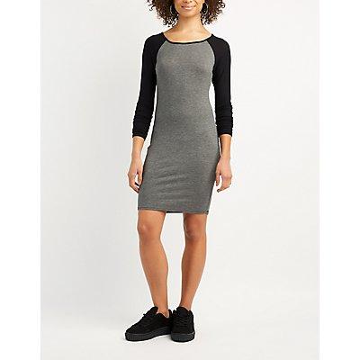 Raglan Lattice-Back Bodycon Dress
