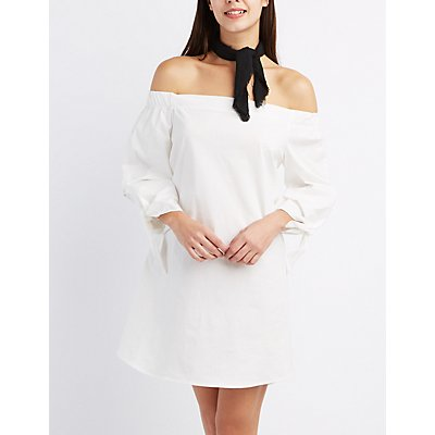 Off-The-Shoulder Tie Sleeve Dress
