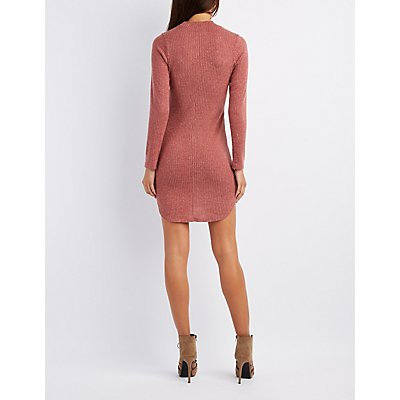 Ribbed Mock Neck Keyhole Bodycon Dress