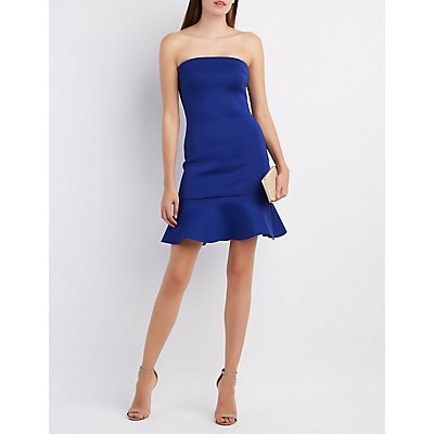 Flounced Strapless Bodycon Dress