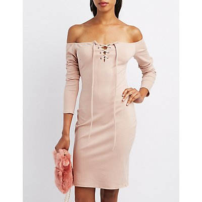 Off-The-Shoulder Lace-Up Dress