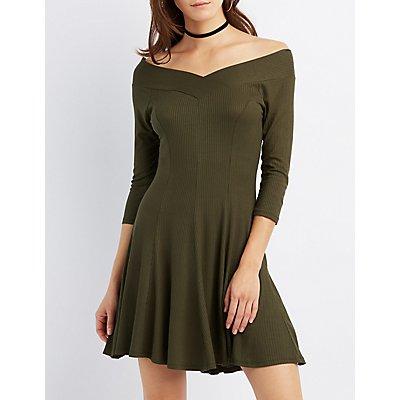 Ribbed V-Neck Swing Dress
