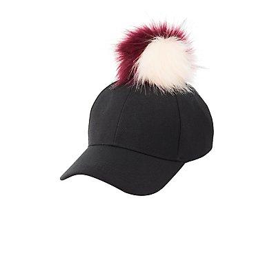Faux Fur Pom Pom Baseball Hat