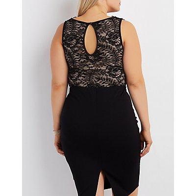 Plus Size Lace & Crochet Cut-Out Bodysuit